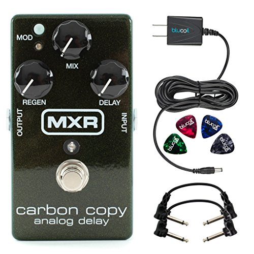 MXR M169 Carbon Copy Analog Delay Pedal -INCLUDES- Blucoil Power Supply Slim AC/DC Adapter for 9 Volt DC 670mA, 2 Hosa CFS-106 Guitar Patch Cable AND 4 Guitar Picks by blucoil