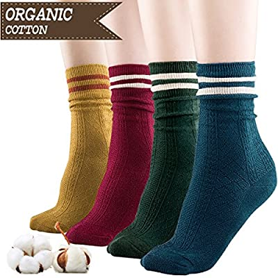 Women Cotton Socks,Organic Cotton,Suitable for Different Color Shoes,4 Pairs