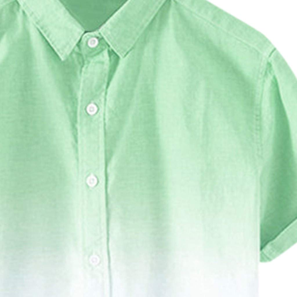 Mens Casual Loose Fit Standard-Fit Short Sleeve Linen Spread Collar Breathable Shirt Button Down Tee