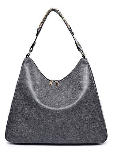 Large Hobo Handbag Bag - Covelin Women's Soft Leather Handbag Hobo Purse Large Capacity Tote Shoulder Bag Grey