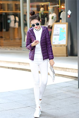 Quilted Coat Down Purple Packble Ultralight Jacket Down Quibine Hooded Women's ABXYqY