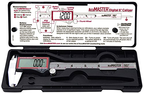Calculated Industries 7418 AccuMASTER Electronic Digital Vernier Caliper | Metric/SAE Inch to Millimeter Conversion | Tool Measures 0-6 Inches/150mm | Stainless Steel | Largest Display Digits |IP54 by Calculated Industries (Image #7)