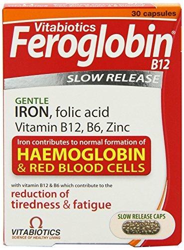 THREE PACKS of Vitabiotics Feroglobin B12 Slow Release Capsules x 30 by Vitabiotics