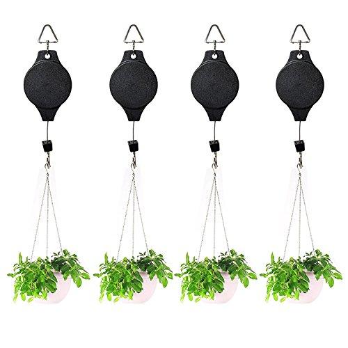 Retractable Hooks (Yblntek Plant Hanger Pulley Retractable Hanging Hook Flower Basket Hanger for Garden Baskets Pots and Birds Feeder Black (4 Packs))