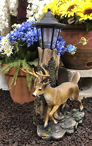 Ebros Rustic Forest Light Outpost Emperor 12 Point Buck Deer Statue with Solar Powered Lantern LED Light Patio Home Decor Deers Does Stag Cabin Lodge Sculpture (Led Deer)