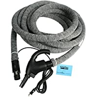 Cen-Tec Systems 99702 Central Vacuum Universal Connect Electric Hose with Hose Sock, Button Lock Stub Tube and Applied Anti-Microbial Spray, 35