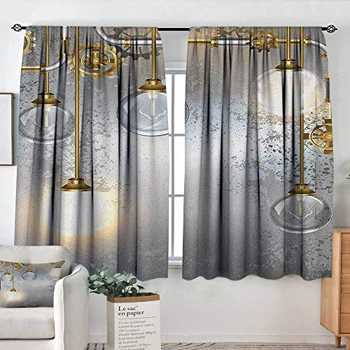 (Decor Waterproof Window Curtain Industrial,Steampunk Style Antique Composition Brass Fastening Round Figures Print, Gold Grey White,Darkening and Thermal Insulating Draperies 42