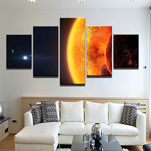 40x60 40x80 40x100cm No Frame Modular Picture Frame Room Home Decor HD Prints 5 Piece Universe Space Canvas Painting Wall Art Earth Poster