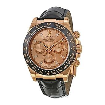 Amazon Com Rolex Daytona Chronograph Rose Dial Black Leather Watch