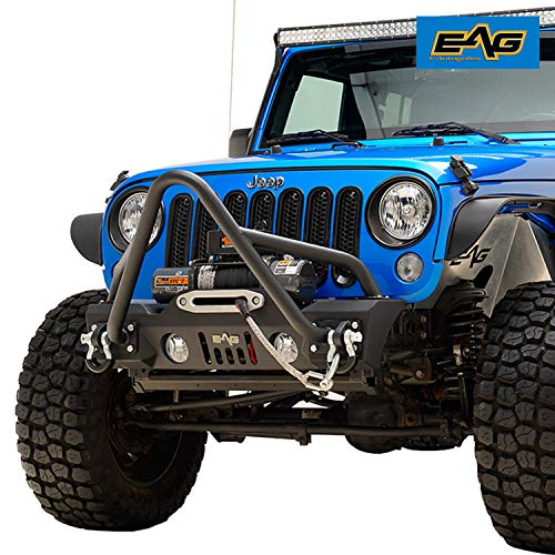 EAG Front Bumper Stinger with D-rings and Winch Plate Fit for 07-18 Jeep Wrangler JK Offroad
