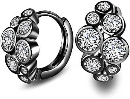 Siarola 18K White/Black Gold Plated Austrian Crystal AAA Zircon Earring Halo Hoop Earring Stud E125