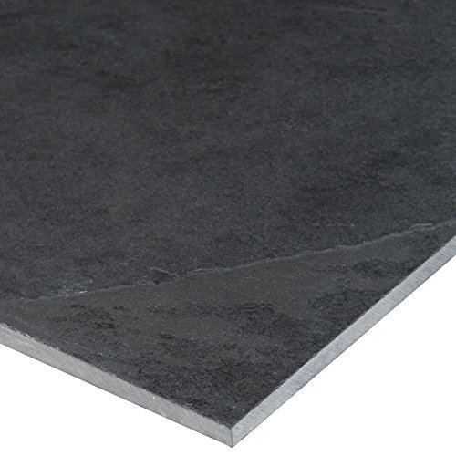 MS International Montauk Black 12 in. x 24 in. Gauged Slate Floor and Wall Tile (10 sq. ft. / case) (Canyon Tile Flooring)