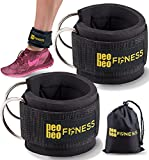 Ankle Straps for Cable Machines and Resistance Bands for Men and Women- Neoprene Padded Ankle Cuffs for Weight Lifting Leg Gym Workout by PeoBeo Fitness (Black Pair)