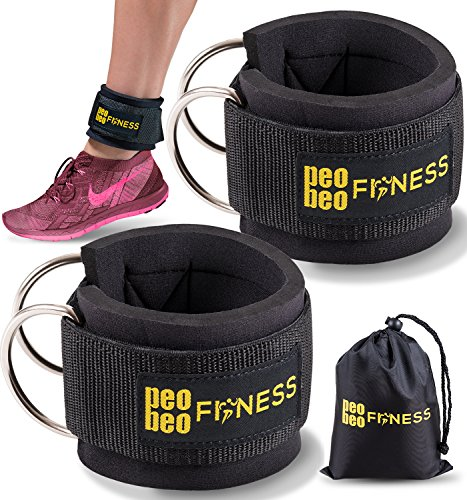 Ankle Straps for Cable Machines and Resistance Bands for Men and Women- Neoprene Padded Ankle Cuffs for Weight Lifting & Leg Gym Workout by PeoBeo Fitness (Black Pair)