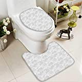 SOCOMIMI Soft Toilet Rug 2 Pieces Set Islamic Art Inspired Oriental Turkish Lace Pattern Traditional Impression Image White Customized Super Soft Plush
