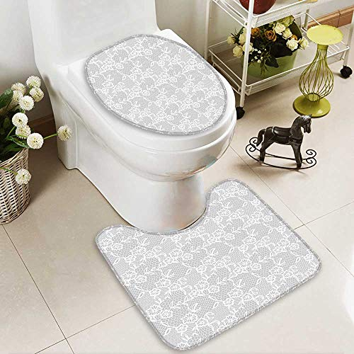 SOCOMIMI Soft Toilet Rug 2 Pieces Set Islamic Art Inspired Oriental Turkish Lace Pattern Traditional Impression Image White Customized Super Soft Plush by SOCOMIMI