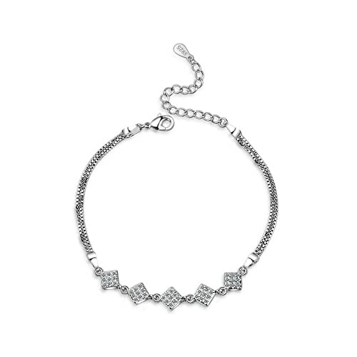 88f45927fc639a Image Unavailable. Image not available for. Color: 925 Sterling Silver  Cubic Zirconia Square Adjustable Bracelet ...