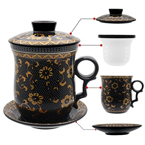 Tea Talent Porcelain Tea Cup with Infuser Lid and Saucer Sets - Chinese Jingdezhen Ceramics Coffee Mug Teacup Loose Leaf Tea Brewing System for Home Office ()