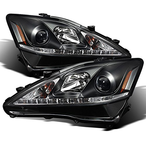 Lexus IS250 IS350 2IS Black Bezel Halo Projector DRL Daylight LED Strip Headlights Replacement Pair