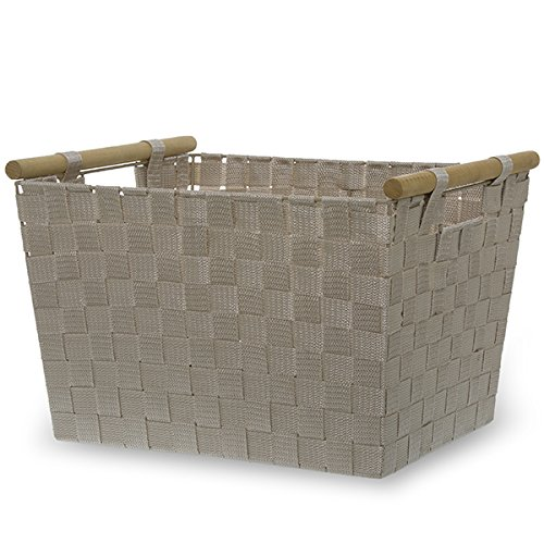 The Lucky Clover Trading Simple Storage Basket with Wood Handle, Beige Ivory