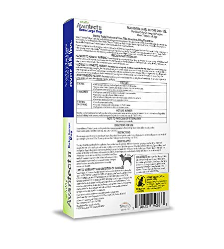 Vetality Avantect II for Extra Large Dogs Over 55 lbs. 4 doses, Waterproof flea and tick Control