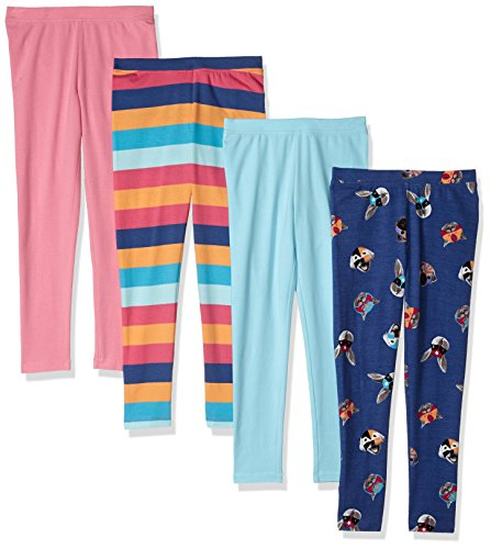 Spotted Zebra Big Girls' 4-Pack Leggings, Animal Masks, Large ()