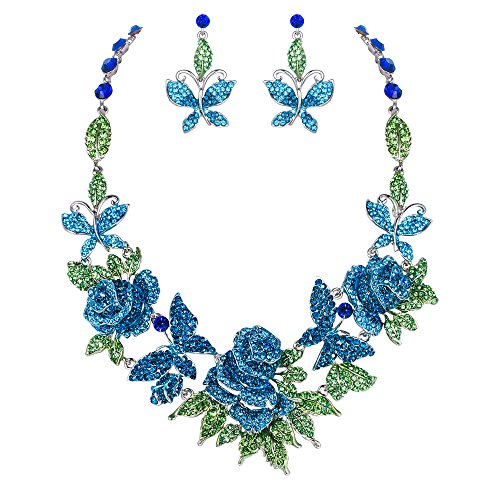 EVER FAITH Austrian Crystal Enamel Butterfly Rose Flower Leaf Necklace Earrings Set Blue Silver-Tone