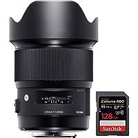 Sigma 20mm F1.4 Art DG HSM Wide Angle Lens for Nikon Full Frame DSLR Cameras (412-955) with Sandisk 128GB Memory Card