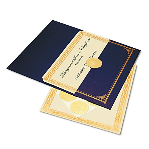 (Geographics Embossed Award Certificate Kit, 8.5 x 11 inches, Kit Includes: 6 Sheets Serpentine Award Certificates, 6 Metallic Blue Document Covers and 6 Gold Embossed Seals)