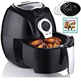 Avalon Bay Air Fryer, For Healthy Fried Cooker Food, 3.7 Quart Capacity, Includes Airfryer Baking Set and Recipe Book, AB-Airfryer100B