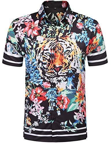 URRU Men's Casual Tiger Floral Printed Hawaiian Shirts Short Sleeve Button Down Aloha Summer Tops Black -