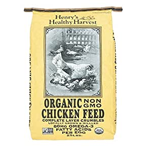 Henry's Healthy Harvest - Organic Chicken Feed - Organic, Non-GMO Chicken Feed Layer Crumbles with Omega 3s for Mature Laying Hens - 25 Pound Bag