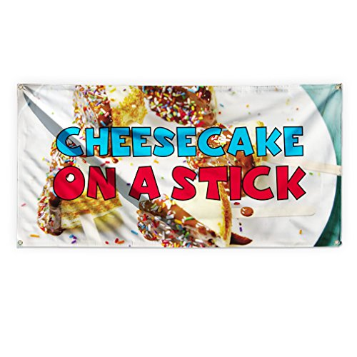 Cheesecake On A Stick #1 Outdoor Advertising Printing Vinyl Banner Sign With Grommets - 5ftx10ft, 10 (10' Cheesecake)