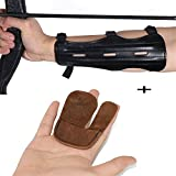 """toparchery Archery 8.6"""" Cow Leather Arm Guard Black 1pk & Archery Right Hand Finger Tab Brown 1pk"""