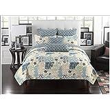 Mk Collection 3pc Bedspread Coverlet Floral Modern Blue Beige 0033 (King)