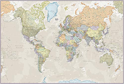 Maps International - Giant World Map Mural - Mega-Map Of The World Wallpaper - 91 x 62 - Classic colours