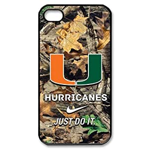 NCAA Miami Hurricanes iPhone 4 4S Protective Case Cover U Logo Design Stylish and Fashion Style Phone Case at Big-dream