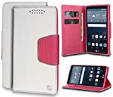 LG G Stylo Case, White/Pink Infolio Wallet Credit Card Slot Case Cover Viewing Stand for LG G Stylo (LS770, MS631), LG G Vista-2 (H740), LG G4 Stylus (H631, H634, H635) -  Beyond Cell