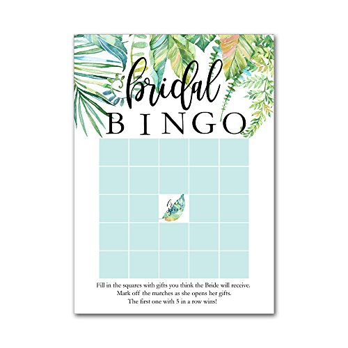 Shower Games Bingo Wedding (Bingo Game Cards for Bridal Wedding Showers with Watercolor Tropical Leaf Leaves BBG8018)