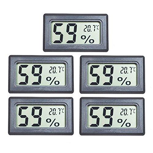 EEEKit 5-pack Mini LCD Digital Electronic Temperature Humidity Meter Indoor Thermometer Hygrometer (Black)