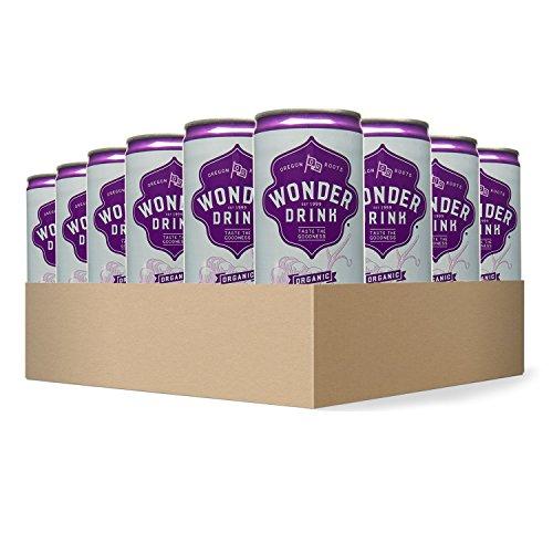 Wonder Drink Kombucha, Organic Grape Sparkling Fermented Tea, 8.4oz Can (Pack of 24) - Packaging May Vary (Grapes Kosher)