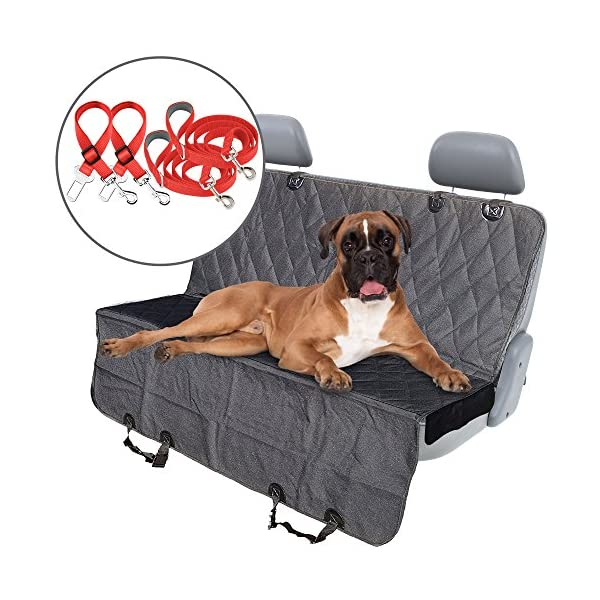 Pet Dog Seat Cover   With 2 Dog Safety Seat Belts & 2 Leashes With Side Flaps   Waterproof & Scratch Proof & Nonslip Back Seat & Dog Hammock   Car Seat Cover For Cars, SUV & Trucks, Bench