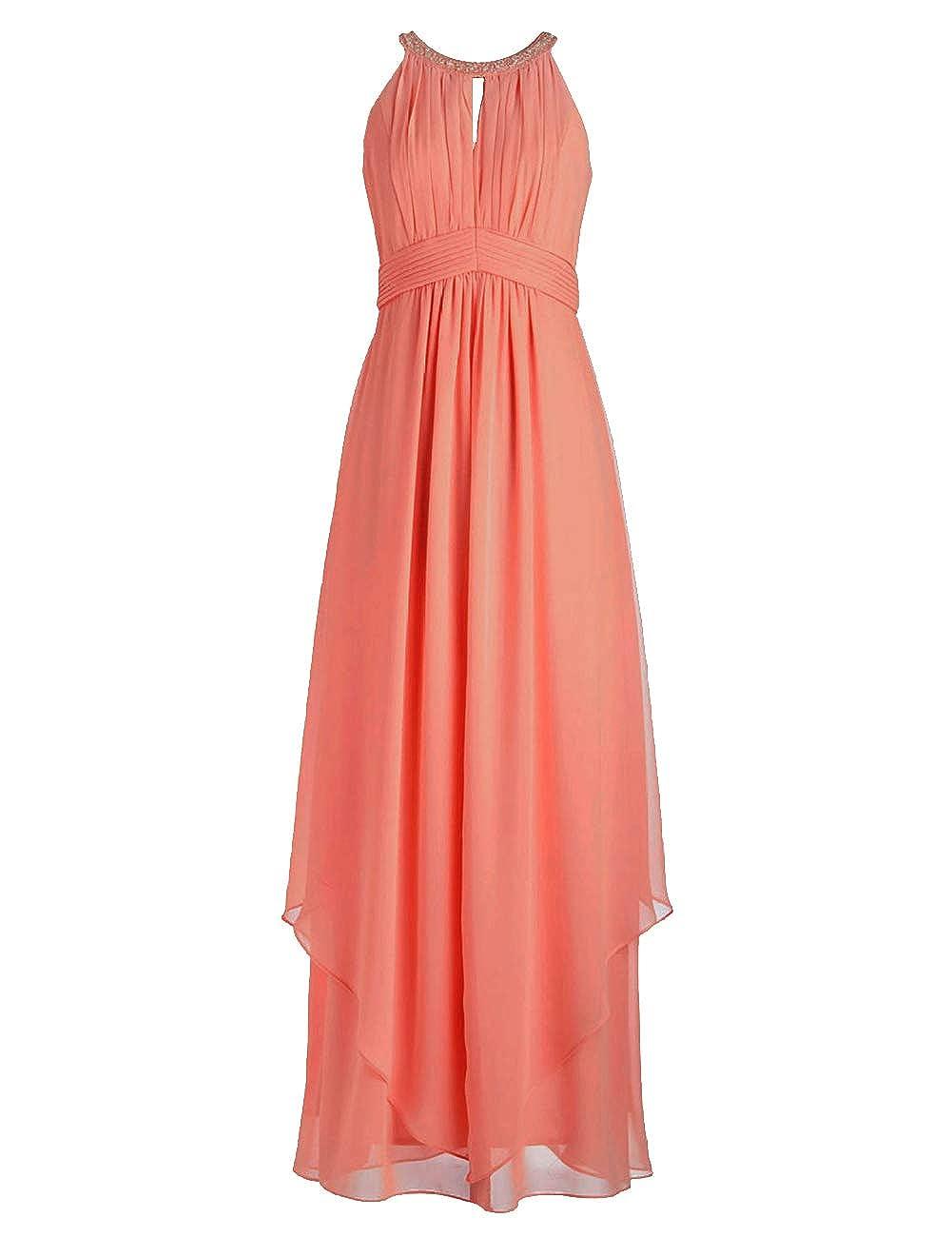 Peach Bridesmaid Dresses Halter Evening Party Dress Long Bridesmaid Gowns Ruffles