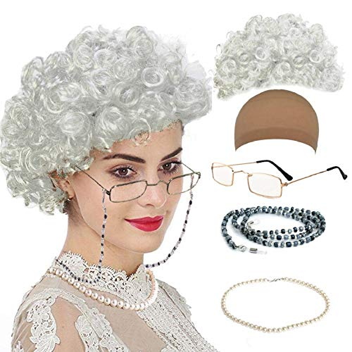 Old Lady Cosplay Set - Grandmother Wig, Wig Cap,Madea Granny Glasses, Eyeglass Chains Cords Strap, Pearl Beads (Style-8) -