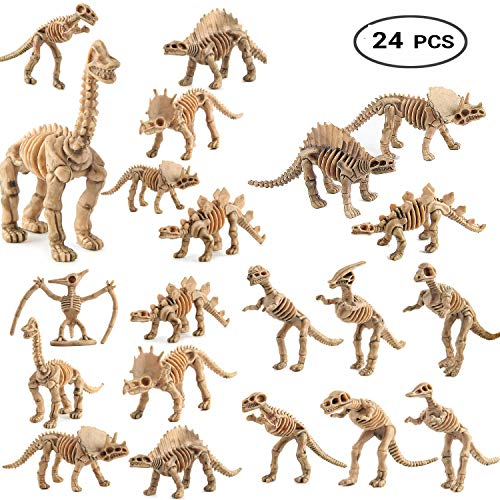 WedFeir 24pcs Dinosaur Fossil Skeletons, 3.7 Inch Assorted Figures Dino Bones, Educational Gift for Science Play, Dino Sand Dig, Party Favor & Decorations.