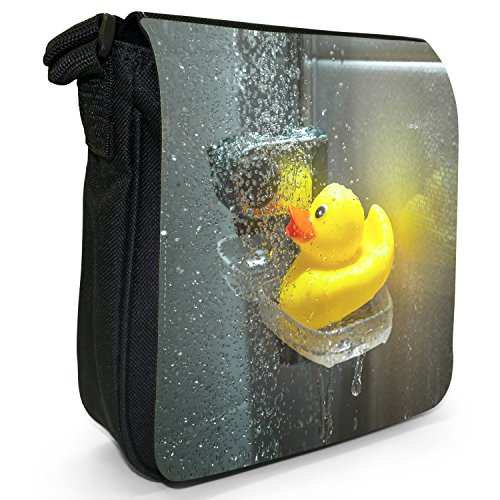 In Bubble Toy Shoulder Size Wet With Bag Small Water Bath Ducks Canvas Rubber Shower Duck Kids Black T7n5ICq