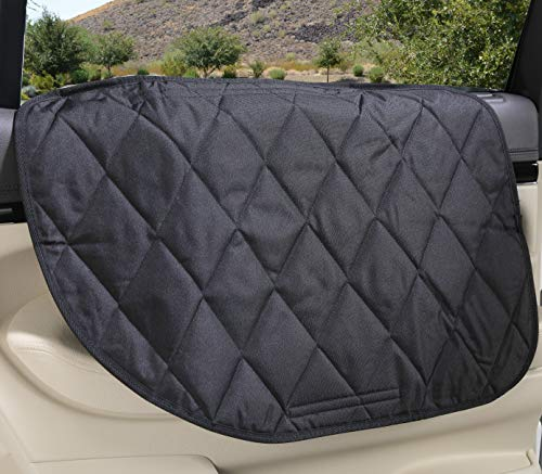 4Knines Dog Car Door Cover for Cars, Trucks and SUVs - USA Based Company - Two Door Guards (One for Each Side) (Black) ()