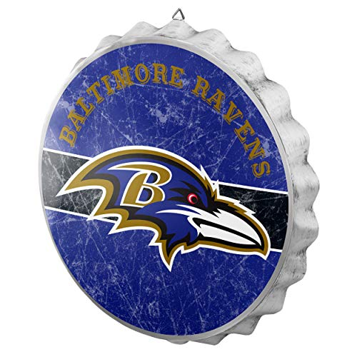 FOCO NFL Baltimore Ravens Metal Distressed Bottlecap Wall Signmetal Distressed Bottlecap Wall Sign, Team Color, One Size ()