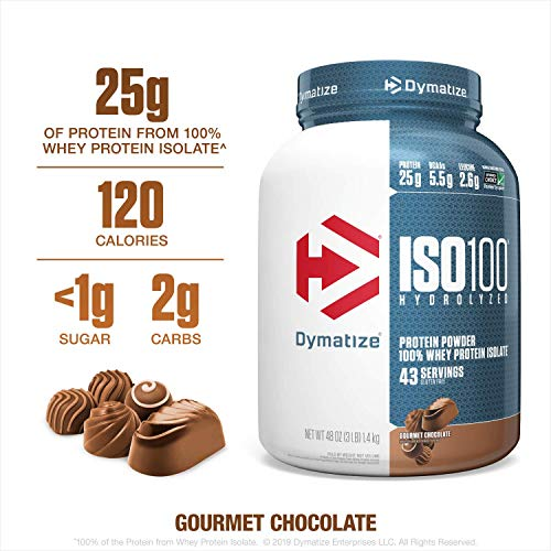 Dymatize ISO100 Hydrolyzed Protein Powder, 100% Whey Isolate Protein, 25g of Protein, 5.5g BCAAs, Gluten Free, Fast Absorbing, Easy Digesting, Gourmet Chocolate, 3 Pound