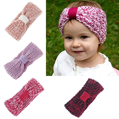 Baby Toddler Little Girl Winter Cute Bowknot Crochet Knit Headband Hairband Ear Warmer (4 Colors Pack - A)